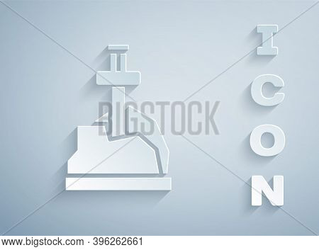 Paper Cut Sword In The Stone Icon Isolated On Grey Background. Excalibur The Sword In The Stone From