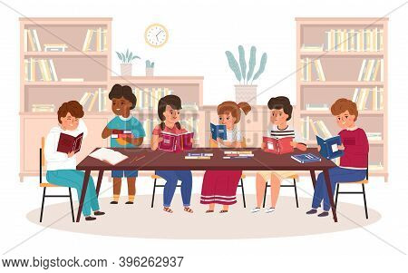 Kids In Library. Boys And Girls Reading Books At Table, Children Get New Knowledge Learning, Bookshe