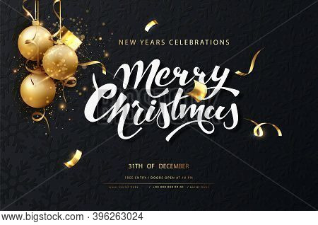 Christmas Festive Dark Card. Dark Christmas Background With Golden Balls, Garlands, Sparkles And New