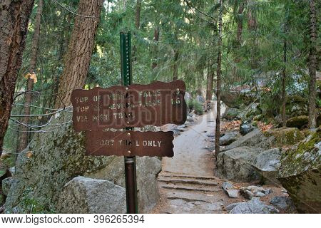 Yosemite, Usa, November 2013: Hiking Trail And Sign To Vernal And Nevada Falls In Yosimete National