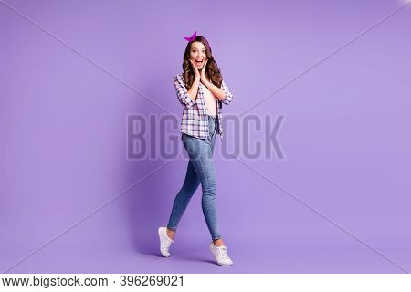 Full Length Profile Photo Of Lady Open Mouth Tiptoes Wear Checkered Shirt Headband Jeans Sneakers Is