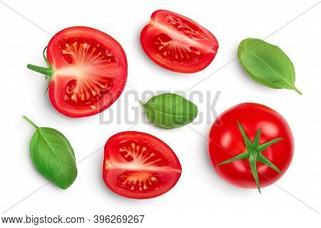 Tomato Slices With Basil Leaf Isolated On White Background. Clipping Path. Top View With Copy Space