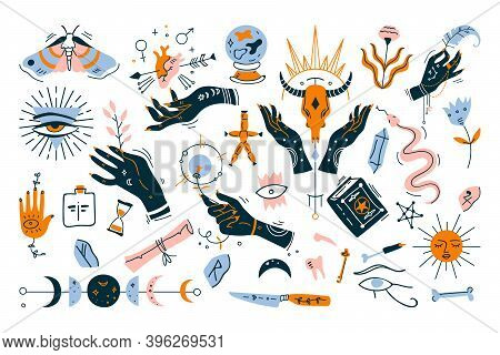 Witchcraft Doodle Set. Collection Of Minimalistic Design Elements On White Background. Magical Pictu