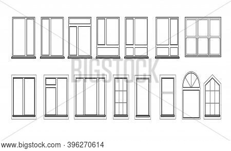 Windows Set Isolated On White Background. Closed Vector Window Element Of Architecture And Interior