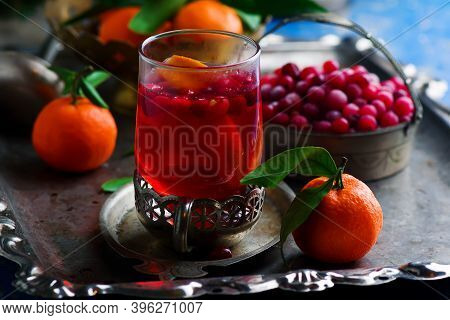 Spiced Cranberry Apple Cider  In Glasses. Top View. Style Vintage. Selective Focus