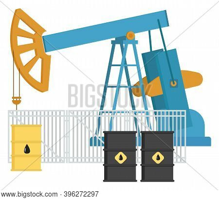 Oil Industry Equipment, Pumpjack And Oil Barrels, Overground Drive For A Reciprocating Piston Pump I