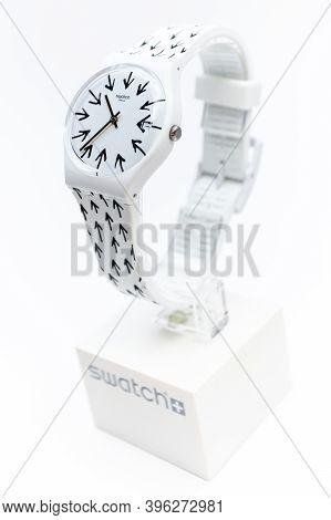 Paris, France 07.10.2020 - Swatch Childrens Arrows Design Trendy Swiss Made Quartz Watch On Brand Sh