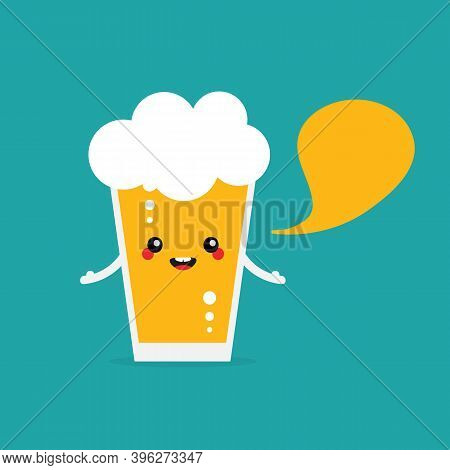 Cute Cartoon Style Glass Of Lager Beer With Foam Character With Speech Bubble, Talking, Giving Advic