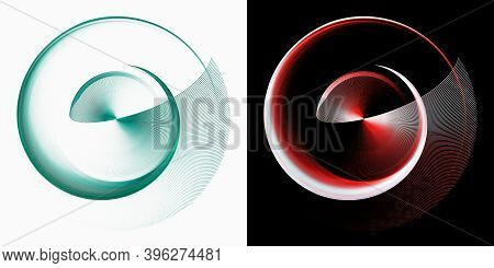 The Spiral Unwinds And Merges Into A Beautifully Curved Fan Blade. Set Of Green And Red Graphic Elem