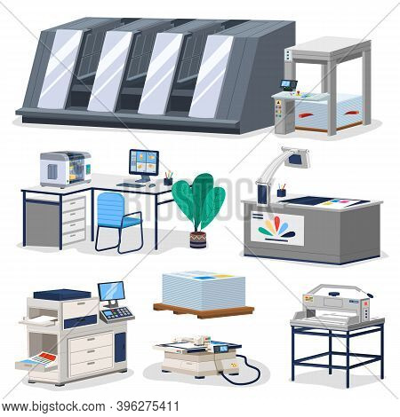 Printing House Facility Offset Production Line Industrial Equipment Isolated Composition Vector Illu