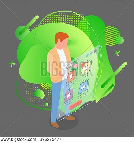 Mobile Shopping, Distance Purchases Flat Vector Concept. Man Selecting A Purchase In A Mobile Phone