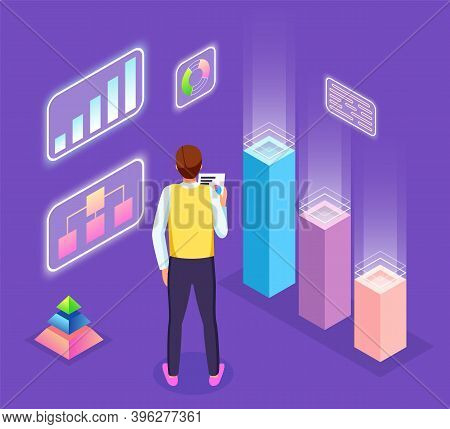 Infographics, Analysis Visual Graphics, Pyramid Chart, Man Worker With Document In Hand, Looking At