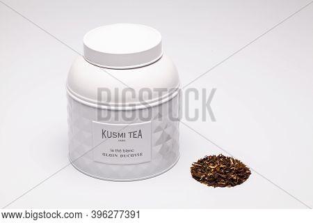 Prague,czech Republic - 17 November,2020: White Kusmi Tea Aluminium Box Od The White Table. Kusmi Te