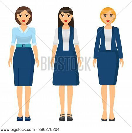 Set Of Vector Chartoon Characters. Dresscode Of Businesswoman. Woman Wearing Blue Office Suit, Jacke