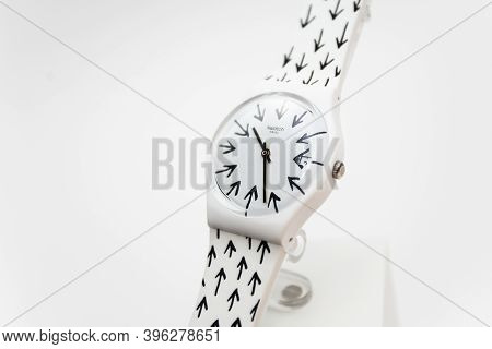 Paris, France 07.10.2020 - Swatch Childrens Cheapest Trendy Swiss Made Quartz Watch On Brand Showcas