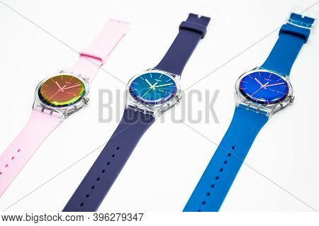 Paris, France 07.10.2020 - Three Swatch Swiss Made Quartz Watch Isolated On White Background. Colore