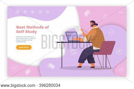Studying Material In Internet, Best Methods Of Self Study, Man Sitting At Table And Working With Lap