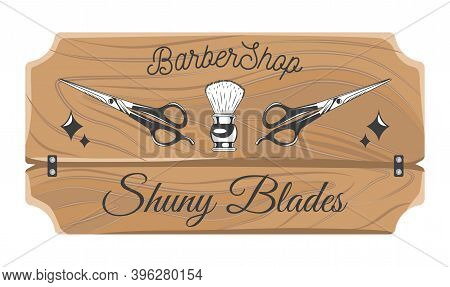 Barbershop Wooden Plate, Nameplate, Board, Shaving Brush And Scissors, Decorative Elements, Shiny Bl