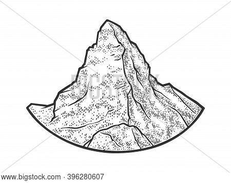 Matterhorn Mountain Of The Alps Sketch Engraving Vector Illustration. T-shirt Apparel Print Design.