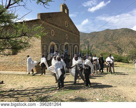 Alitena, Tigray, Ethiopia - 13 August 2019 : People Leaving Church In The Mountainous Tigray Region
