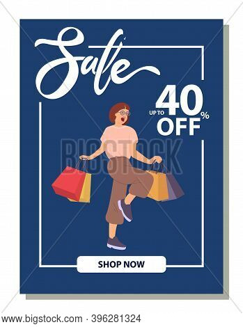 Forty Percent Discount Announcement. Photo Of Woman Standing With Shopping Bags And Smiling. Young B