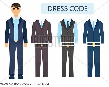 Isolated Young Guy In Formal Suit. Collection Of Office Costumes With Jackets, Vest, Tie, Trousers I