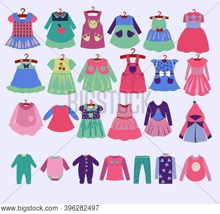 Vector Hand Drawn Fashion Dress For Girl Clothes For Spring And Summer. Collection For Girls. Collec