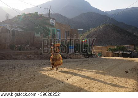 Tigray, Ethiopia - 14 August 2018. : Pedestrian On The Road In A Small Town In Tigray Region Of Ethi