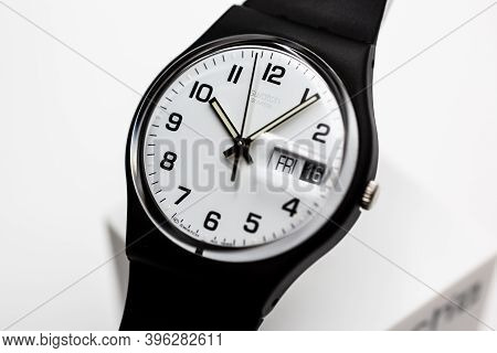 Rome, Italy 07.10.2020 - Swatch Simple Fashion Swiss Made Quartz Watch Isolated On White Close Up. B