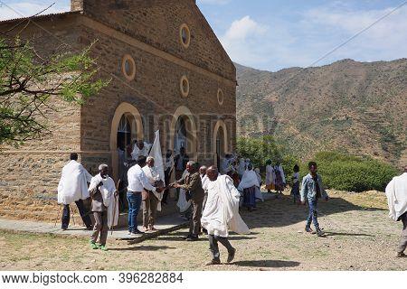 Alitena, Tigray, Ethiopia - 13 August 2019 : People Leaving Church In The Moutnainous Tigray Region
