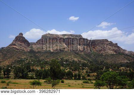Tigray, Ethiopia - 14 August 2018. :typical Moutain Landscape In Tigray Region Of Ethiopia