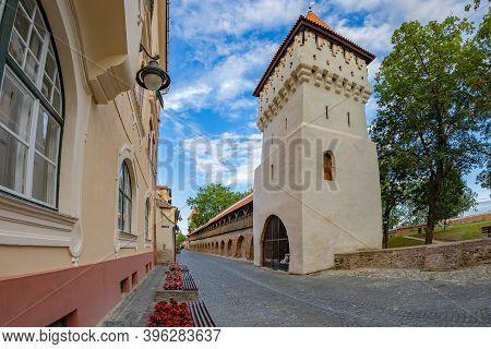 Sibiu, Transylvania, Romania-july 8, 2020:fortress Street-cetatii Street With Defence Potters Tower