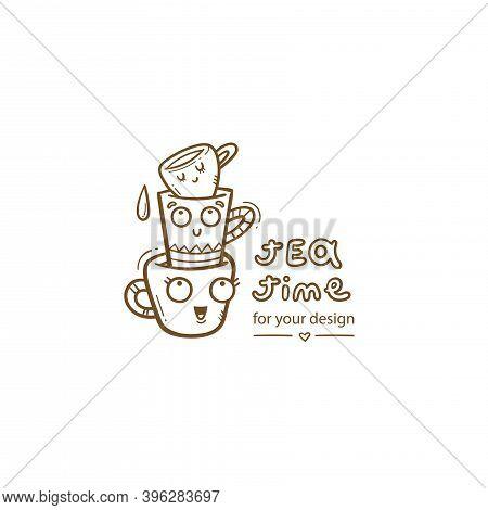 Сard With Cute Cartoon Mug And Tea. Funny Drink Print. Anthropomorphic Tableware Poster. Vector Dood
