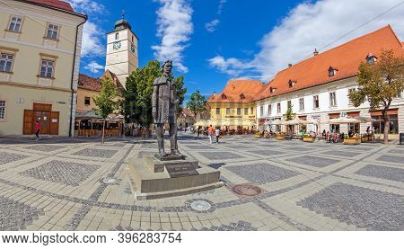 Sibiu, Transylvania, Romania - July 8, 2020: The Main Square From The Center Of The City, First Time
