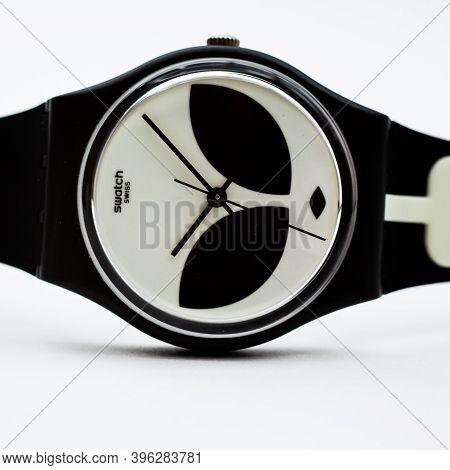 Geneve, Switzerland 07.10.2020 - Swatch Cheapest Swiss Made Quartz Watch Isolated On White Backgroun