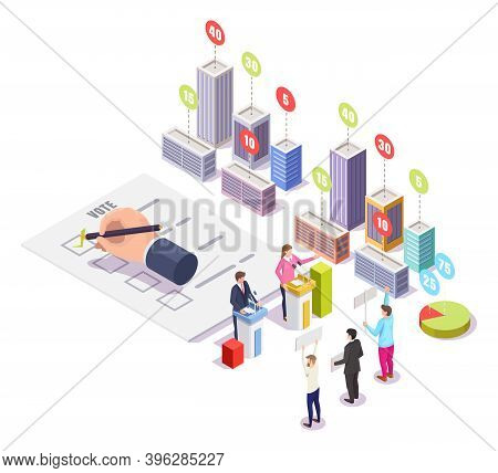 Election Campaign, Polling Day, Vector Isometric Illustration. Political Candidates Speech, Voters,