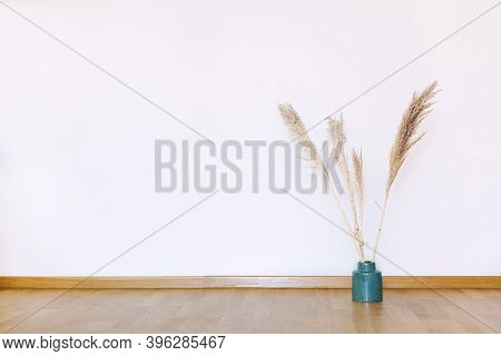 Indoors Flat Wall Mockup With Dried Pampas Grass In Minimalist Style. Earthy Neutrals Tones Backgrou