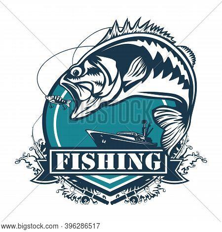 Fishing Bass Logo. Bass Fish With Rod Club Emblem. Fishing Theme Illustration. Fish Isolated On Whit
