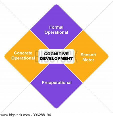 Diagram Of Cognitive Development With Keywords. Eps 10 - Isolated On White Background