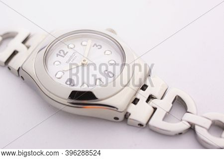 London, Gb 07.10.2020 - Swatch Classic Design Swiss Made Mechanical Watch Close Up Isolated On White