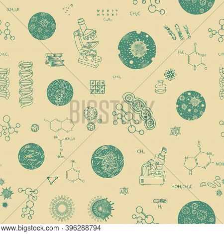 Seamless Pattern On The Theme Of Biology, Medicine, Genetics, Biochemistry. Vector Repeating Backgro