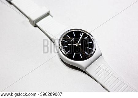 Geneve, Switzerland 07.10.2020 - Swatch Swiss Made Quartz Watch Isolated On White Background. Classi