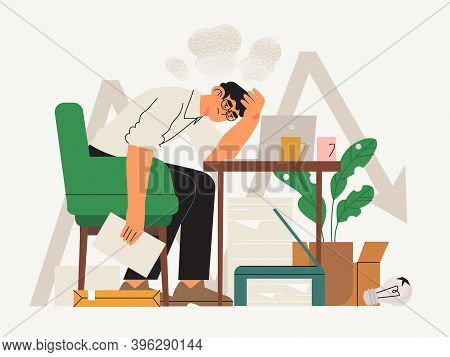 Exhausted Male Character Or Office, Freelance Worker During Covid19 Crises Fighting For His Busines.