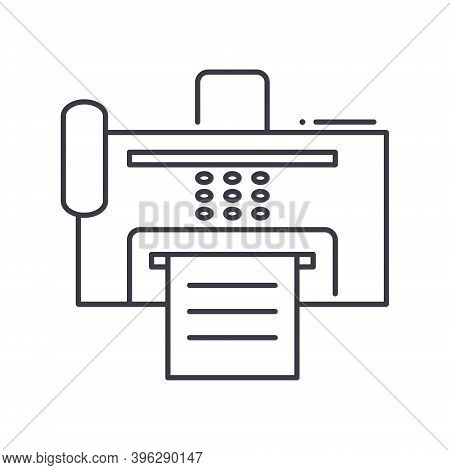 Fax Icon, Linear Isolated Illustration, Thin Line Vector, Web Design Sign, Outline Concept Symbol Wi