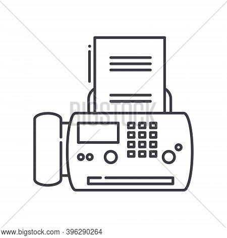 Fax Message Icon, Linear Isolated Illustration, Thin Line Vector, Web Design Sign, Outline Concept S
