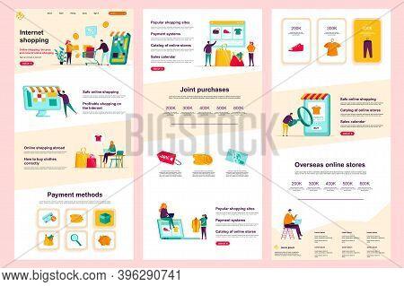 Internet Shopping Flat Landing Page. Online Marketplace, E-commerce Corporate Website Design. Web Ba