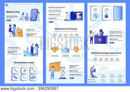 Medical Clinic Flat Landing Page. Medical Rehabilitation Center, Modern Hospital Corporate Website D