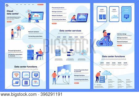 Cloud Data Center Flat Landing Page. Database Storage, Online Computing Resources Corporate Website