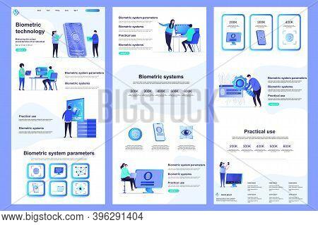 Biometric Technology Flat Landing Page. Biometrics Authentication And Identification Corporate Websi