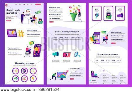 Social Media Marketing Flat Landing Page. Marketing Strategy, Promotion Platform Corporate Website D
